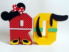 Letras 3D para decorar no tema Disney. Minnie e Pluto