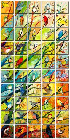 Vilket härligt projekt för en skolklass. Någon målar upp grenarna i förväg och så får barnen måla fåglarna.
