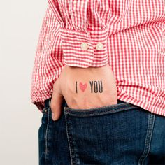 """I love you"" temporary tattoo"