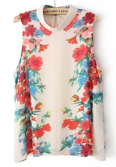Beige Sleeveless Rose Print Chiffon Blouse pictures