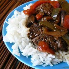 Maria's Pepper Steak is what's for dinner tonight! On noodles, Sierra's preference. Be sure to read the reviews, but a very delicious, basic and quick recipe.