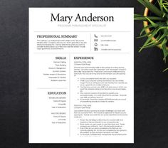 Modern Resume Template for Word & Pages | 1, 2 and 3 Page Resume + ...