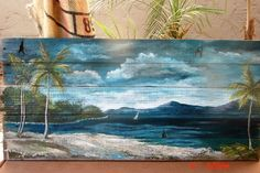 SEASCAPE TROPICAL OCEAN BEACH  PAINTING ON RECLAIMED SALVAGED PALLET WOOD  #Realism