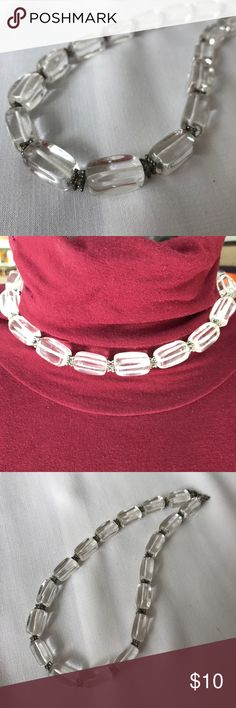 "Clear Quartz necklace Gorgeous clear quartz with ornamental silver spacers in between each rectangular bead. 16"" choker. Jewelry Necklaces"