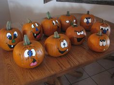 "Képtalálat a következőre: ""foami pumpkins"" Cute Halloween, Holidays Halloween, Halloween Pumpkins, Halloween Crafts, Halloween Decorations, Pumpkin Face Paint, Pumpkin Faces, Cute Pumpkin, Pumpkin Painting"