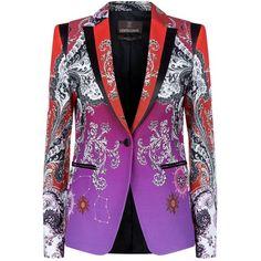 Roberto Cavalli Degradé Chantilly Blazer (7.730 RON) ❤ liked on Polyvore featuring outerwear, jackets, blazers, patterned blazer, flower jacket, satin blazer, shiny blazer and star jacket