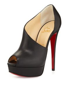 Verita+Asymmetric+Red+Sole+Bootie,+Black+by+Christian+Louboutin+at+Neiman+Marcus.