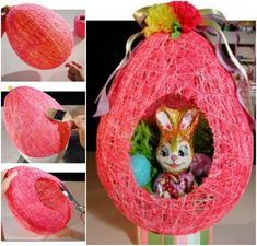 How to DIY String Balloon Basket for Christmas | www.FabArtDIY.com  #crafts, #Easter, #diy, #basket, #gifts
