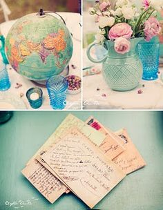 Travel inspired table decorations