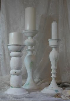 Candle Holder Set of 3 Shabby Chic Beach Cottage Costal Decor by upcyclesisters on Etsy