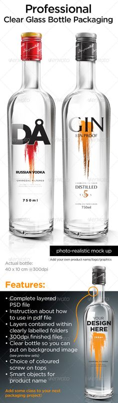 Clear Glass Bottle Packaging — Photoshop PSD #wine #mockup • Available here → https://graphicriver.net/item/clear-glass-bottle-packaging/1094678?ref=pxcr