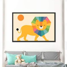 Lion Shine is the ideal decor element to create a stylish and fun kids room. This sweet art print is perfect for baby showers, newly born birthdays and toddlers. Acrylic Painting For Kids, Kid Painting, Kids Room Paint, Kids Room Wall Art, Kids Wall Decor, Cat Decor, Art N Craft, Diy Art, Kids Canvas