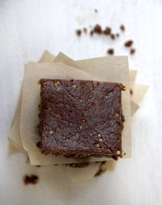 Raw Brownies  2 cups of medjool dates (they're the squishier, stickier, tastier kind of dates) 1 cup of pecans 2-3 tablespoons of raw cacao powder  2 tablespoons of maple syrup (optional and can be replaced with any other liquid sweetener)
