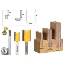 Straight & Spiral :: Straight & Spiral Bit Sets :: 3 Bit Undersized Dado Router Bit Set For & Plywood -Yonico Plywood Projects, Diy Projects Plans, Woodworking Projects, Cabinet Door Router Bits, Router Setting, Bit Set, Door Molding, Power Tool Accessories, Woodworking