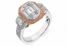 Brilliant 18K white and rose Simon G engagement ring features a 1.0ctw center mosaic of white Diamond, .28ctw round white Diamonds, .11ctw round pink Diamonds, and .49ctw emerald cut white Diamonds. Available at #Schmitt Jewelers.