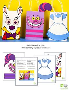 DIY Alice in Wonderland Favor Bags. Simply Download, Print, Cut and Paste. Print as many copies as you need.