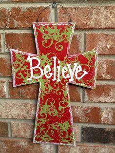 Red and Green Wooden Cross Believe Sign Christmas Door Hanger Cross Home Decor Sign