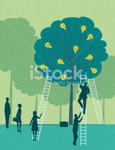 Business Team Harvesting Ideas From A Tree Royalty Free Stock Vector Art Illustration