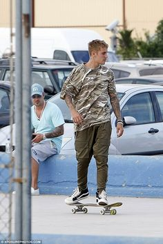 Skater boy: Justin Bieber, 22, hit a local skatepark in Ibiza on Tuesday, while…