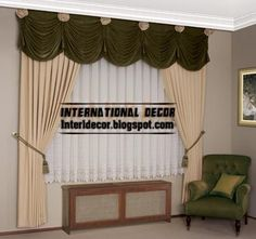 top curtain model for living room and green draperies, crushed curtain