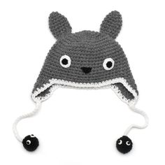 Crochet Totoro Hat with Soot sprites Available from by Crochet Totoro, Knit Crochet, Crochet Hats, Pikachu, Totoro Hat, My Neighbor Totoro, Otaku, Yarn Crafts, Crochet Projects