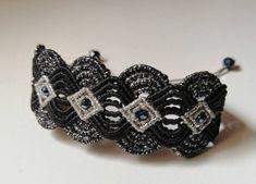 Bracelet black silver brown macramee boho gift for you Black Silver, Macrame, Boho, Trending Outfits, Unique Jewelry, Bracelets, Handmade Gifts, Etsy, Vintage
