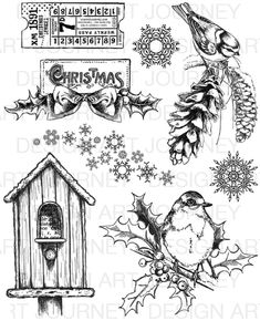 Christmas Birds Christmas Doodles, Christmas Bird, Christmas Coloring Pages, Christmas Colors, Tim Holtz Stamps, Silhouette Images, Tole Painting, Christmas Printables, Colouring Pages