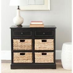 Ryan Black Storage Cabinet With 4 Wicker Baskets