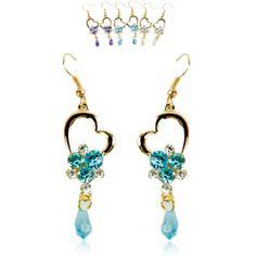 Women's Fashion Nice Crystal Rose Earrings Tassels Eardrop 3 Colors