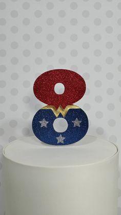 Wonder Woman Inspired 8 Birthday Cake Topper - Girl's Super Hero Party Decor for 8th / Eighth / Eight Girls Cake by ShopSwayDesigns on Etsy https://www.etsy.com/listing/538584899/wonder-woman-inspired-8-birthday-cake