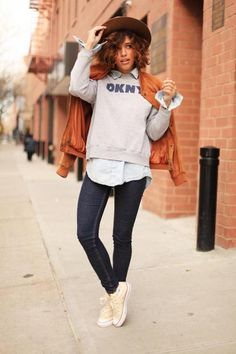 Christina Caradona [Trop Rouge] in a DKNY sweater, American Apparel shirt, Cheap Monday pants, Converse shoes, Lord & Taylor jacket, Otte hat, and Karen London rings.