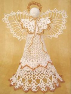 """Design By: Aly Hymel Size: 12"""" (30 cm) long Materials Needed: Crochet Cotton Thread Size #10: White (MC) - 200 yards (18 meters) Gold (CC) - 30 yards (2.7 meters) Stuffing, Hot Glue, Fabric Stiffener,"""