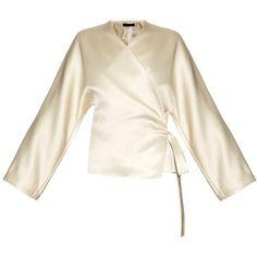 The Row Haki satin kimono jacket ($825) ❤ liked on Polyvore featuring outerwear, jackets, gold, kimono jackets, white kimono, white jacket, wrap jacket and satin kimono
