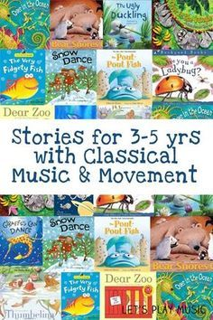 with Classical Music And Movement Stories with classical music and movement for 3 - 5 year olds - A great way to encourage young imaginations.Stories with classical music and movement for 3 - 5 year olds - A great way to encourage young imaginations. Preschool Books, Book Activities, Preschool Activities, Music Activities For Kids, Preschool Library, 3 Year Old Preschool, Preschool Music Activities, Music Therapy Activities, Physical Activities