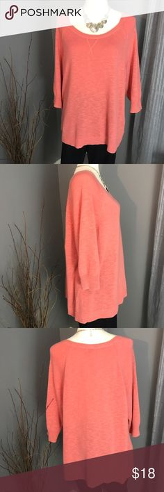 Sonoma Coral Sweater Lightweight and perfect for layering, you'll love this pretty coral 3/4 sleeve sweater for transitioning into Fall. Excellent condition with exception of a small amount of piling under the arms. 100% Cotton. Size 1X Sonoma Sweaters Crew & Scoop Necks