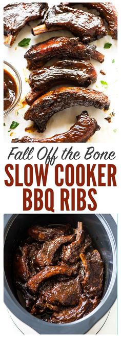 AWARD WINNING fall-off-the-bone tender Crockpot Ribs. 10 MINUTES TO PREP! EASY recipe with the best homemade sweet and smoky BBQ sauce. Recipe can be used for country style, baby back or spare ribs. Recipe at wellplated.com | @wellplated
