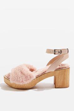 VINNIE Fur Footbed Sandals - Topshop USA
