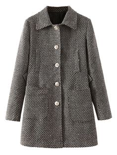 Single Breasted Longline Wool Blend Coat in Wave Stripe | Choies