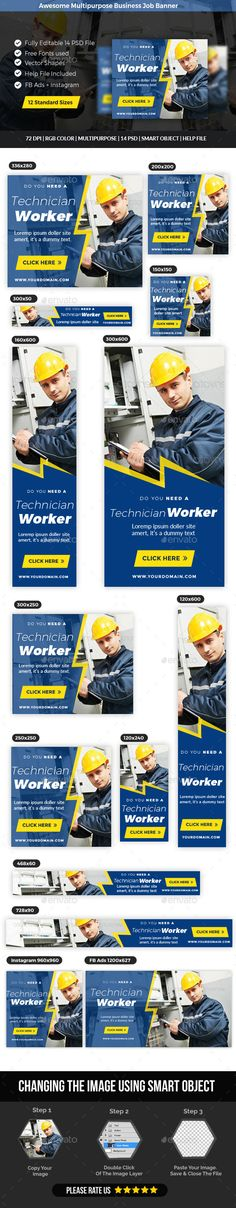 Multipurpose Business Job Banner Template PSD. Download here: https://graphicriver.net/item/multipurpose-business-job-banner/17567539?ref=ksioks