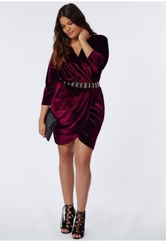Plus Size Velvet Wrap Dress Oxblood - Plus Size Dresses - Women's plus size - Missguided + Dresses Uk, Plus Size Dresses, Plus Size Outfits, Wrap Dresses, Curvy Outfits, Fashion Outfits, Full Figure Dress, Plus Zise, Outfit