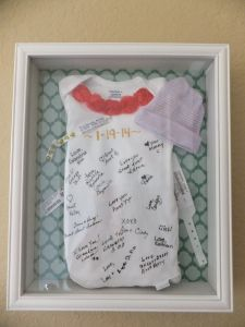 Baby Shower signed onesie