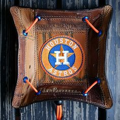 Custom Astros Valet Tray Built From Baseball Glove Leather Leather Tray, Leather Tooling, Leather Wallet, Christmas Gifts For Boyfriend, Boyfriend Gifts, Custom Wallets, Wallet With Coin Pocket, American Girl Crafts, Baseball Gifts