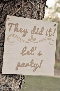 """Double Sided Ring Bearer Sign, """"Here She Comes"""" and """"They Did It! Let's Party!"""""""