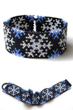 Snowflake beaded bracelet  beadwork jewelry  by Anabel27shop