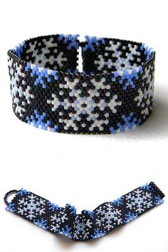Snowflake beaded bracelet  beadwork jewelry  by Anabel27shop