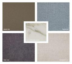 Marble: Calacatta Oro Matt Fabrics: Sablé 1645 - Tricot 810 - Enea 1530 Velvet: Eldorado 1521