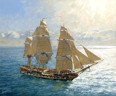 'Flying Kites' - HMS Surprise under Royals and Stunsails. - Geoff Hunt