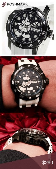 Authentic Invicta Limited Mickey Pro Diver Watch Look at Mickey waiting in place to give you the time to your next important destination. This gorgeous Limited Edition of 3,000 Timepiece is New and comes with all its paperwork. Be sure to check out all the details. From the Mickey Logo around the bezel and of course on the Stem to set your time. Oh and if you look closely you'll see the faceplate background is a gorgeous dark blue embossed in Mickey Logos. ✨See second listing for more info…