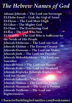 """Bible names of God (KJV), alphabetically listed, with references. Includes a list of the Hebrew names, the I AMs, and the """"Who"""" characteristics of God. Hebrew Names, Biblical Names, Hebrew Words, Bible Quotes, Bible Verses, Scriptures, I Am The Door, Learn The Bible, The Great I Am"""