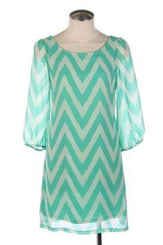Womens Medium Dress * NEW * Chevron Pattern * Mint Chevron Dress * ~CUTE ~~~~~